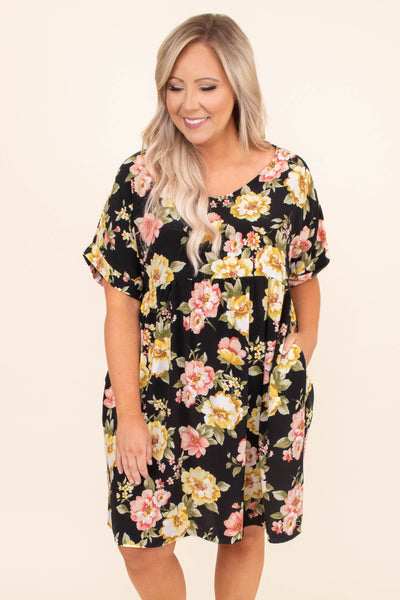 dress, baby doll, floral, black, yellow, rose, short sleeve, scoop neck, loose, comfy