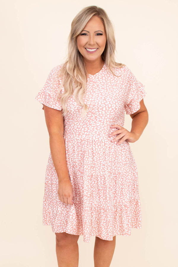 dress, baby doll, leopard, pink, ruffle sleeve, pink. white, loose, comfy, short dress, above the knee