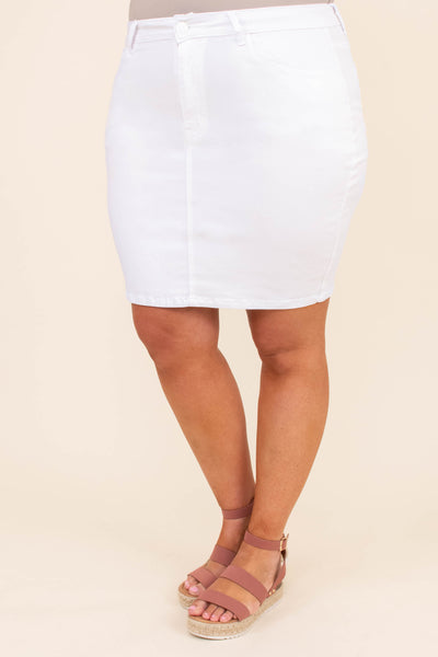 skirt, form fitted, white, denim, above the knee, spring, summer