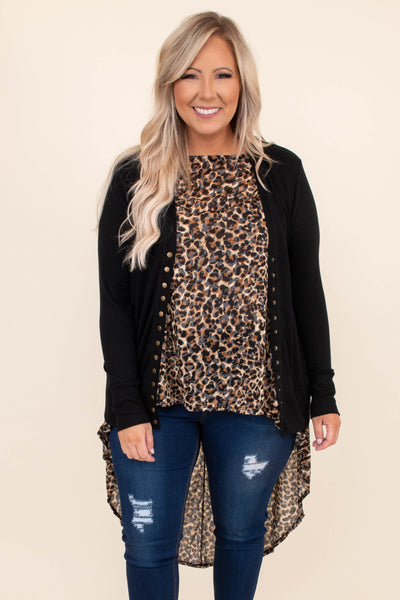 cardigan, black, gold buttons, long sleeve