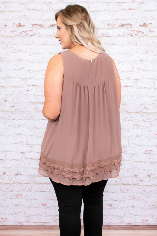 shirt, tank, sleeveless, mocha, loose, comfy, crochet detailing