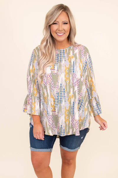 shirt, ruffle sleeves, bell sleeves, patches, printed, sage, yellow, ivory, blue, pink, loose, curved hem, comfy