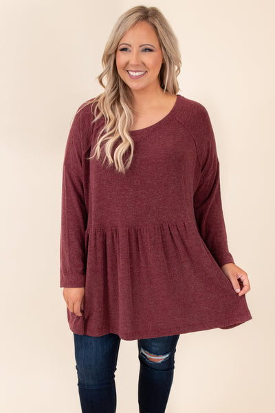 top, basic top, babydoll top, burgundy, red, solid, long sleeve, comfy, casual, layer, winter