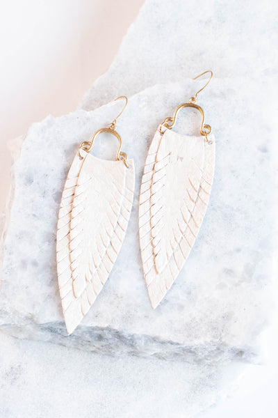 earrings, dangly, feathers, white, long