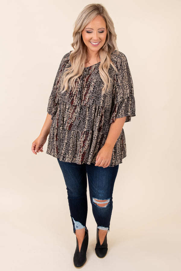 top, casual top, babydoll top, black, floral, half sleeve