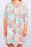 dress, short dress, knee length, three quarter sleeve, cross neckline, white, blue, pink, floral, summer, spring