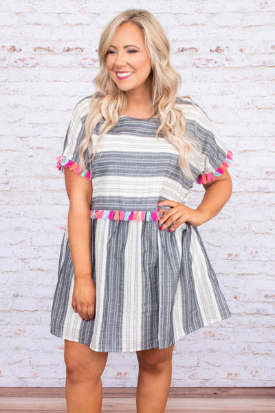 dress, short, short sleeve, flowy, gray, white, striped, tassel details, pink, coral, blue, comfy, spring, summer