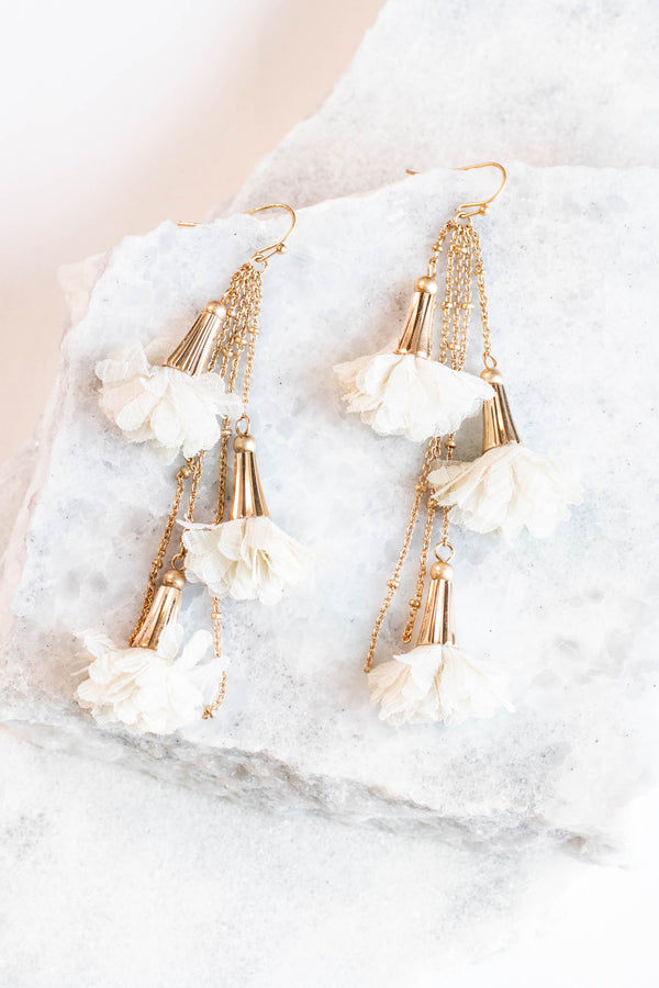accessory, earrings, tassels, gold, ivory