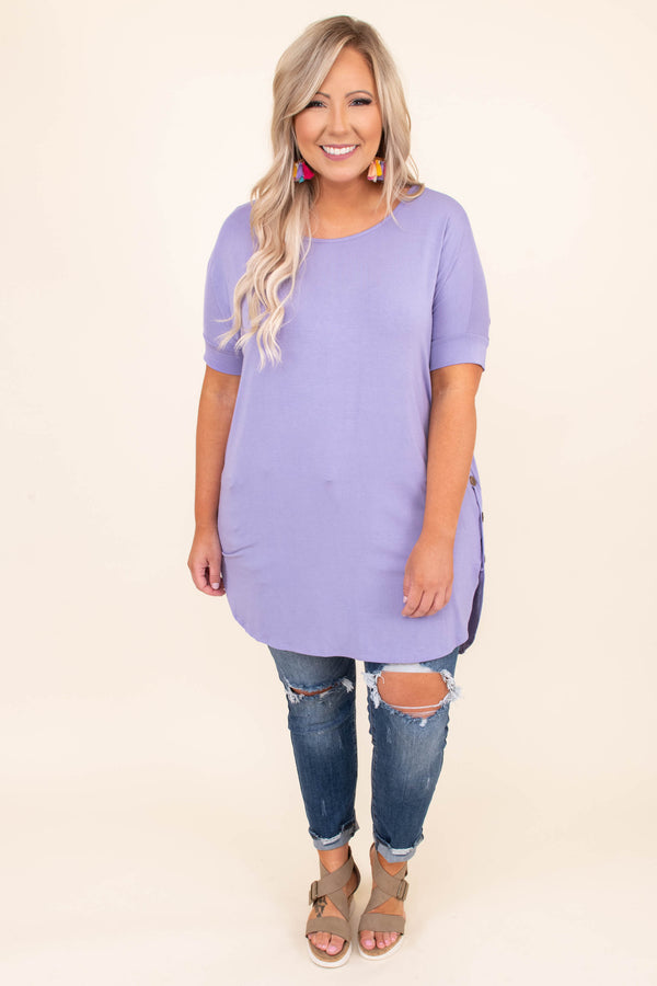 shirt, tunic, long, button sides, curved hem, longer in back, purple, lavender, short sleeve