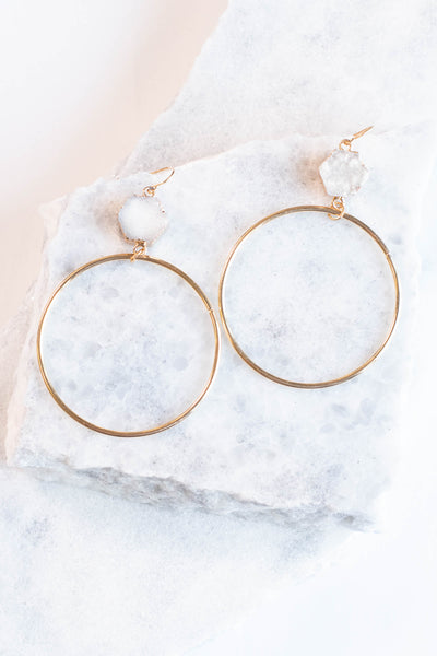 earrings, dangly, hoop, gold, clear gem, long