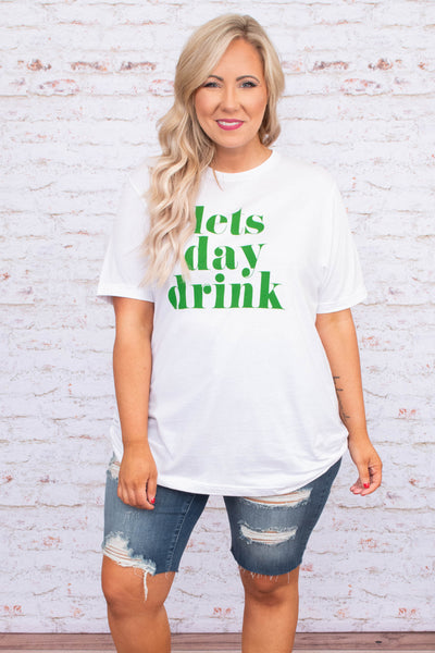 tshirt, short sleeve, curved hem, loose, long, white, graphic, lets day drink, green, comfy