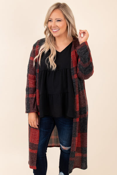 top, cardigan, plaid, red, black, long sleeve, open front, cozy