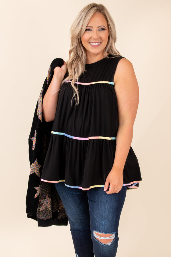 tank, black, flowy, figure flattering, sleeveless, multi colored, hem