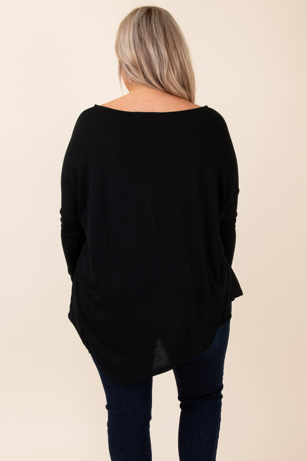 top, basic top, black, solid, long sleeve, scoop neck