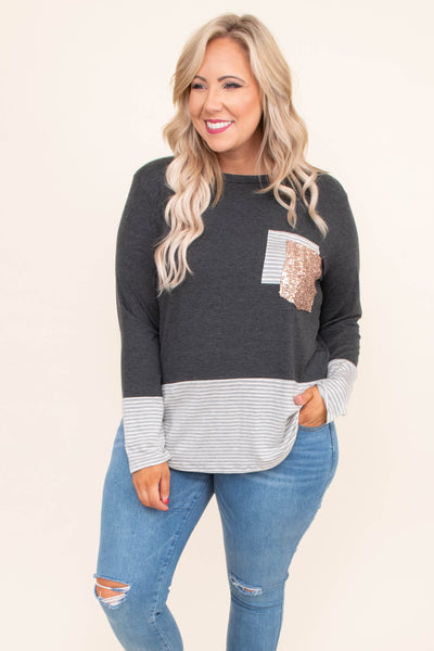shirt, long sleeve, chest pockets, curved hem, loose, charcoal, gray, white, stripes, colorblock, glitter pocket, comfy