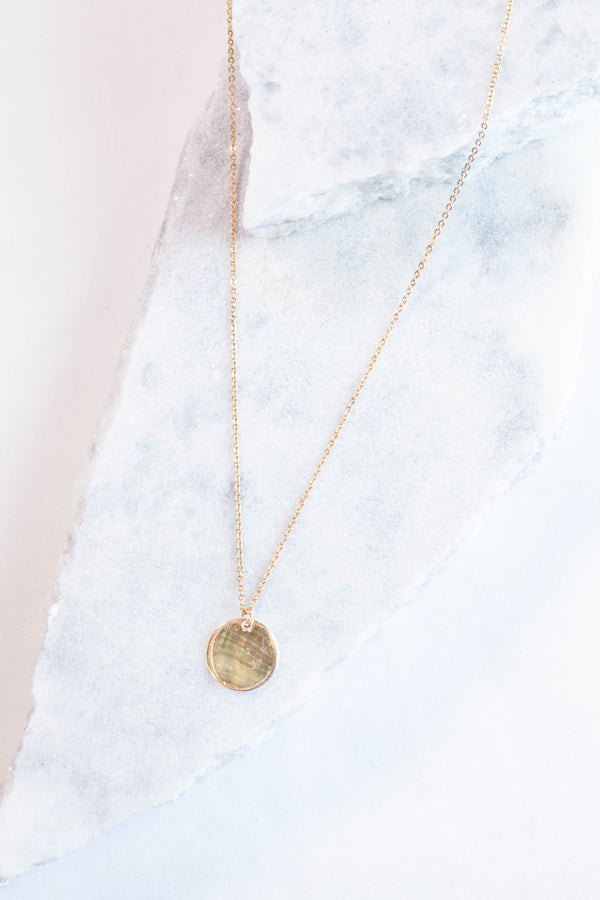 necklace, circle charm, gold, long chain, dainty