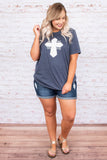 Beyond Hope Is Faith Tee, Heather Navy