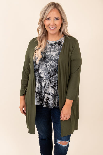 cardigan, olive, open front, top, neutral, solid, figure flattering