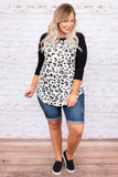 top, three quarter sleeve, leopard, black sleeves, white, loose, comfy