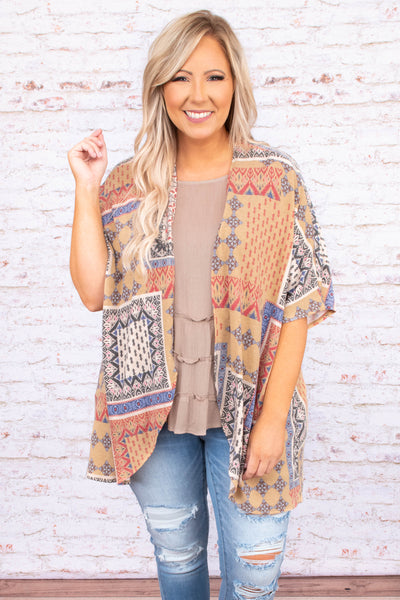 kimono,loose, comfy, curved edges, multi colored, taupe, patterned, short sleeve