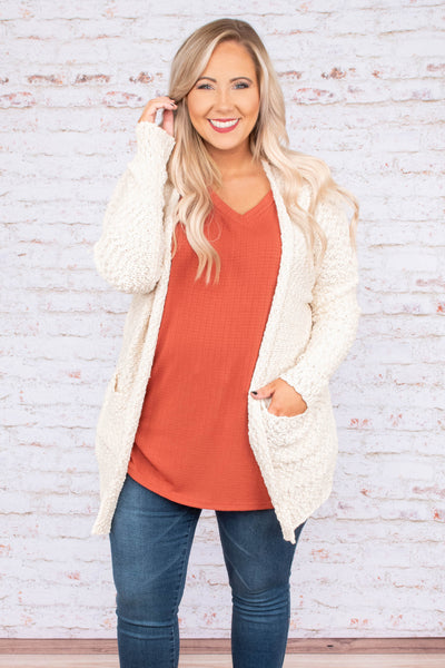 cream, top, sweater, cardigan, pockets, long sleeve