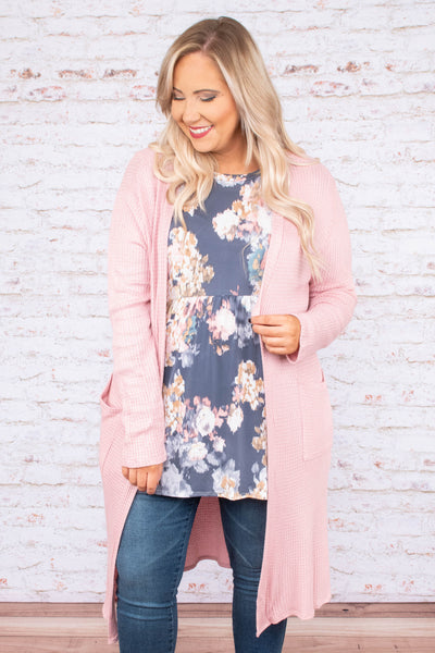 cardigan, long sleeve, long, pockets, waffle knit, flowy, pink, comfy, outerwear, fall, winter