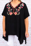 shirt, blouse, v neck, embroidery, black, red, orange, floral, uneven hem, longer sides, short sleeve