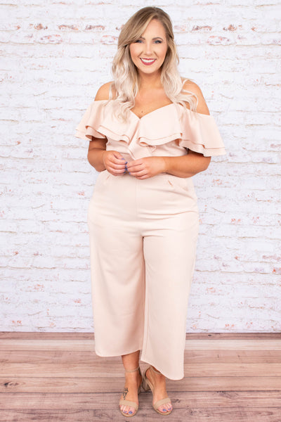 jumpsuit, cropped, cold shoulder, blush, ruffle neckline, pockets