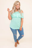 shirt, short sleeve, cold shoulder, ruffle top, curved hem, loose, mint, comfy, spring, summer