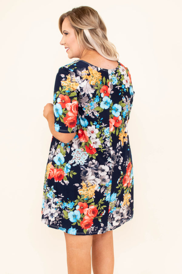 dress, short, short sleeve, flowy, navy, floral, red, blue, yellow, gray, white, comfy
