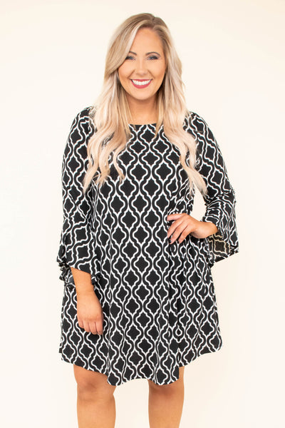 dress, short, three quarter sleeve, bell sleeves, black, white, damask pattern, flowy