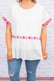 shirt, short sleeve, babydoll, eyelet lace, white, tassel details, pink, blue, flowy, long, comfy, spring, summer