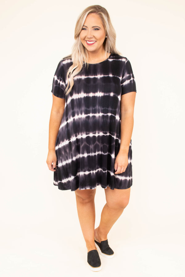 dress, short, short sleeve, pockets, flowy, black, white, tie dye, comfy