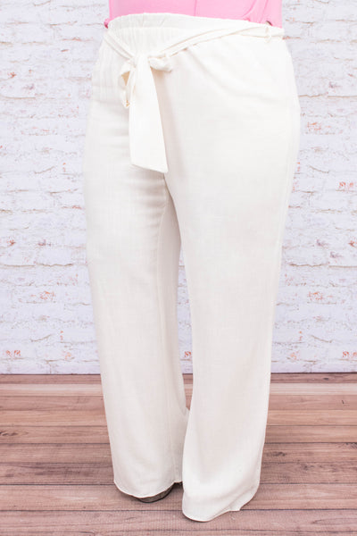 pants, long, wide leg, elastic waist, tie waist, white, flowy