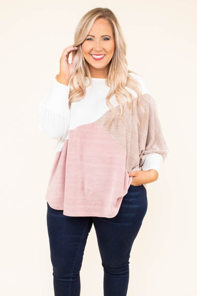 sweater, long sleeve, bubble sleeve, white, mocha, blush, colorblock, comfy, fall, winter