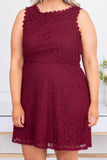 dress, short, sleeveless, lace, burgundy, flowy, babydoll, comfy