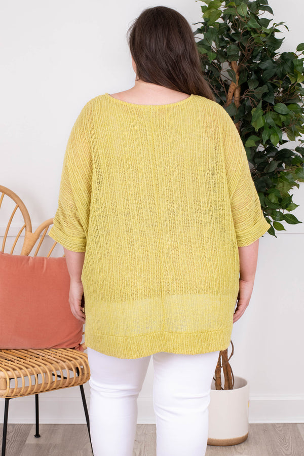 shirt, short sleeve, loose, comfy, longer in back, knit, yellow, light weight, spring, summer