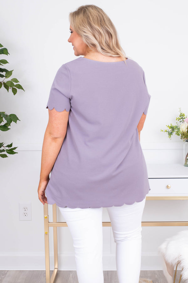 shirt, short sleeve, long, scalloped hems, lavender, comfy, loose