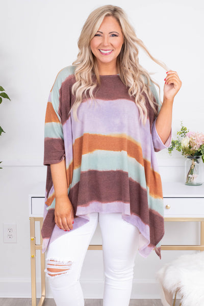 tunic, three quarter sleeve, long, asymmetrical hem, flowy, lavender, maroon, mint, orange, colorblock, comfy