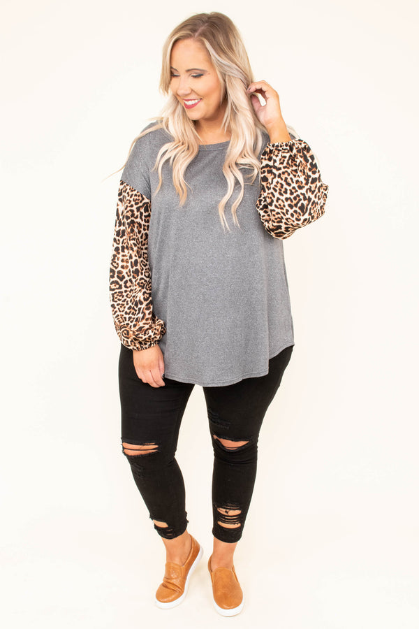 shirt, long sleeve, curved hem, gray, solid, leopard sleeves, brown, dropped shoulder, flowy, fall, winter