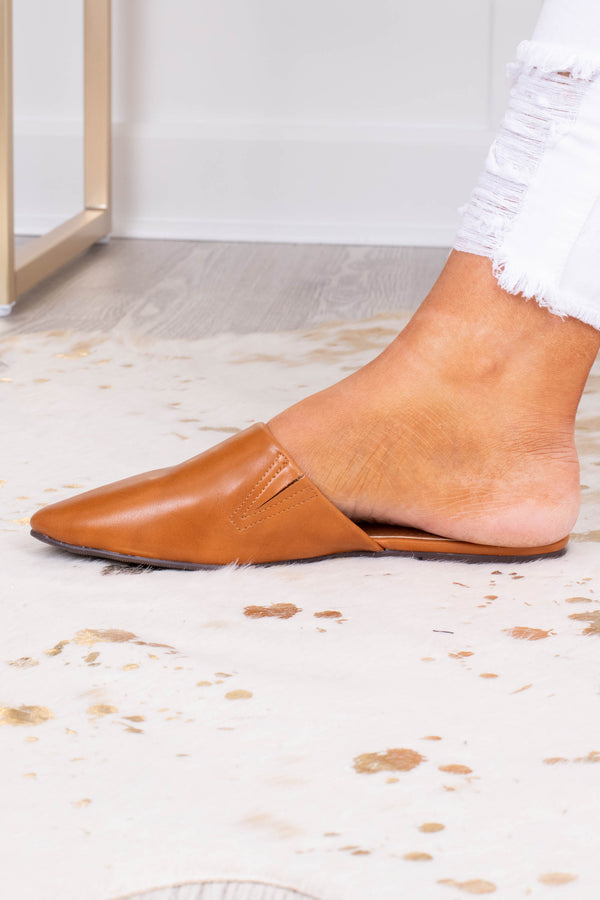 shoes, mules, slide ons, pointy toe, flat, tan, faux leather