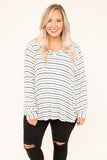 shirt, long sleeve, vneck, bubble sleeves, white, black, striped, comfy, fall, winter