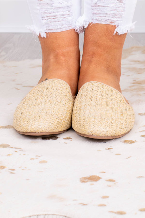 mules, flat, slip ons, wicker fabric, beige, rounded toe
