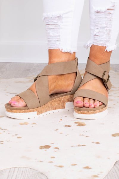 wedges, platform, straps, open toe, closed heel, crisscross ankle strap, taupe, gold buckle
