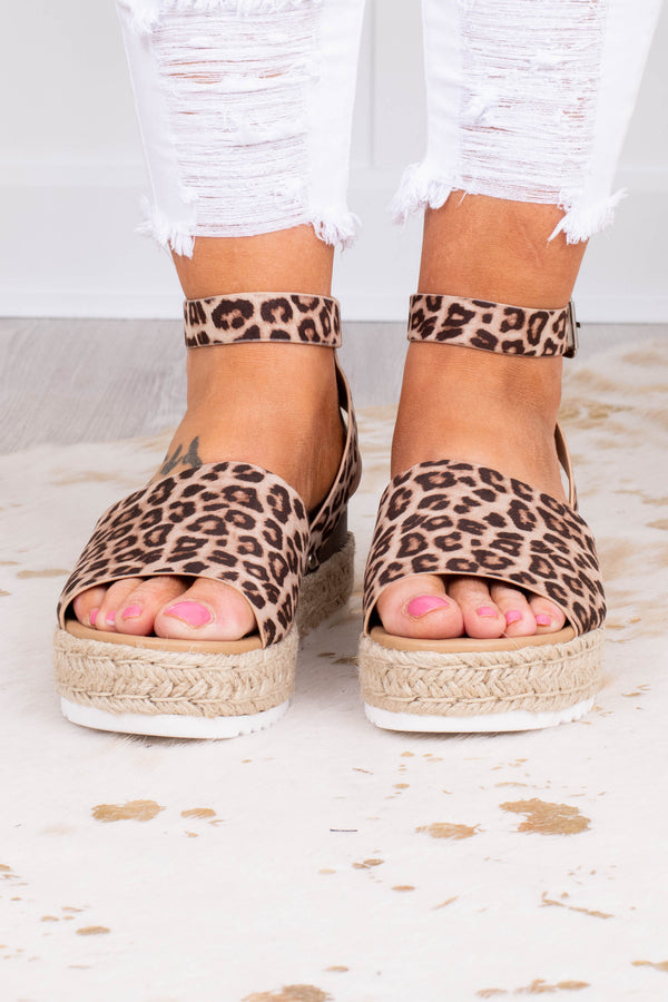 wedges, platform, open toe, open heel, ankle strap, foot strap, rope heel, brown, leopard