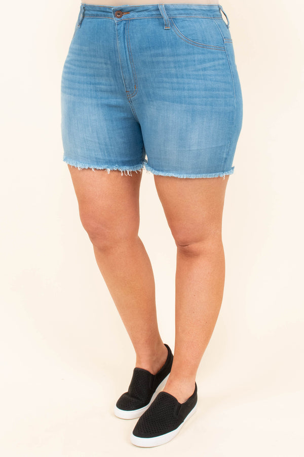 Dance With The Waves Shorts, Medium Wash