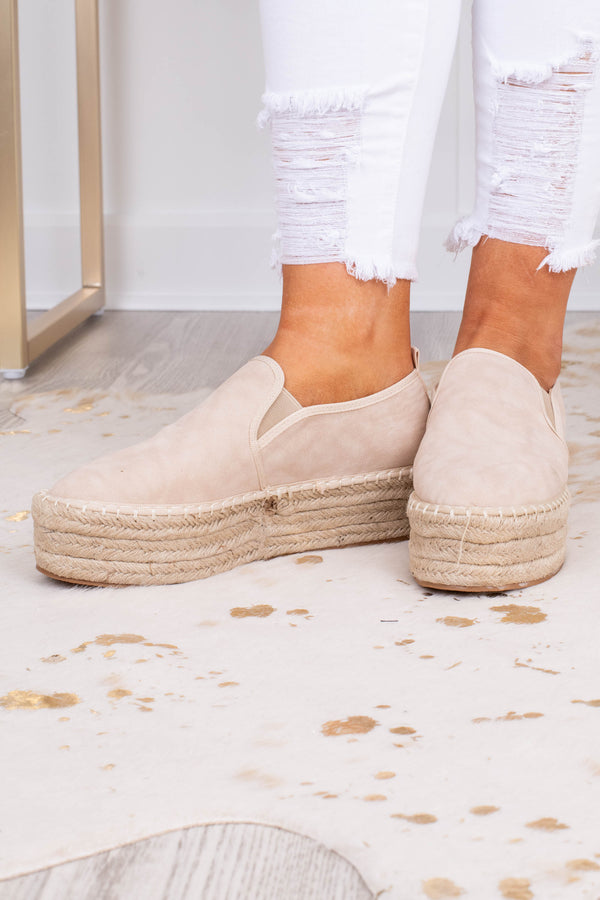 shoes, slide on, closed toe, closed heel, espadrille heel, platform, beige