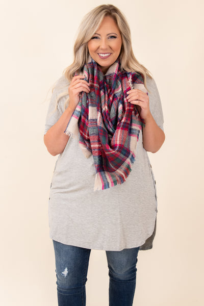 top, tunic, gray, heather gray, solid, short sleeve