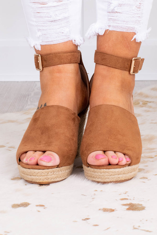 wedges, platform, open toed, closed heel, brown, thick foot strap, ankle strap