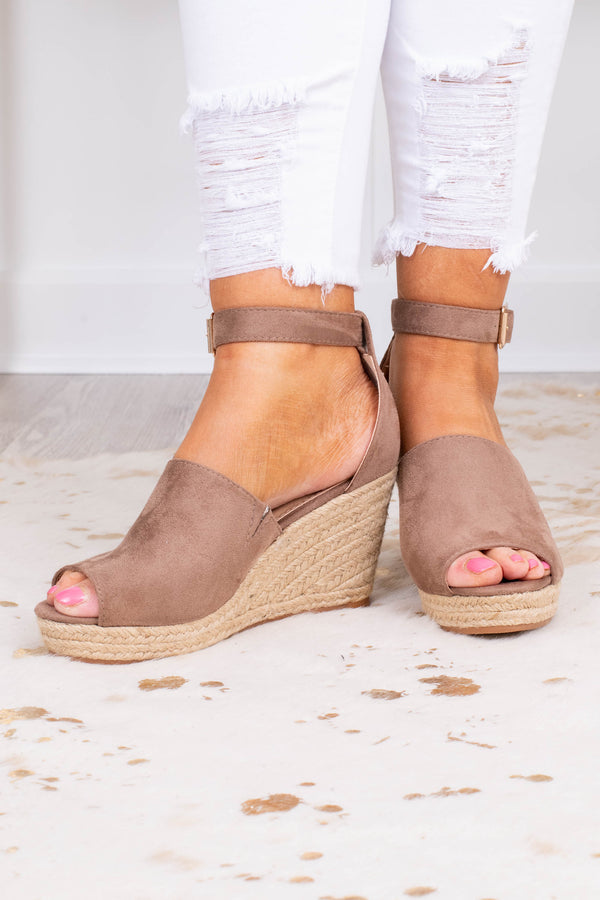 wedges, platform, open toed, closed heel, taupe, thick foot strap, ankle strap